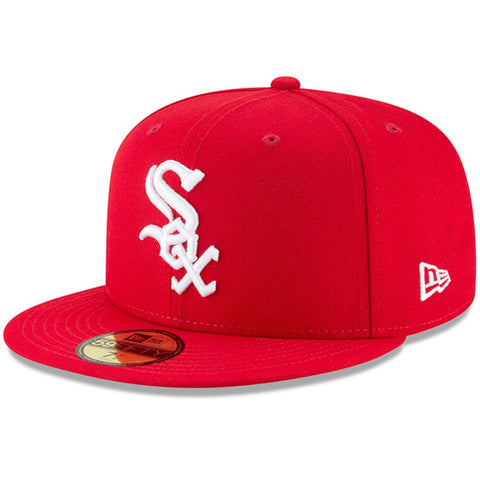 Chicago White Sox Fitted New Era 59Fifty White Logo Red Cap Hat