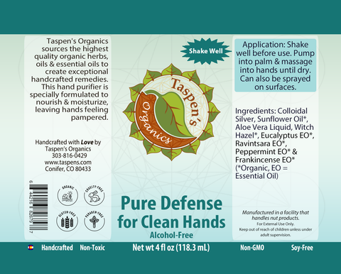 PURE Defense for Clean Hands: NO-Alcohol: Colloidal Silver, Aloe, Witch Hazel & Essential Oils