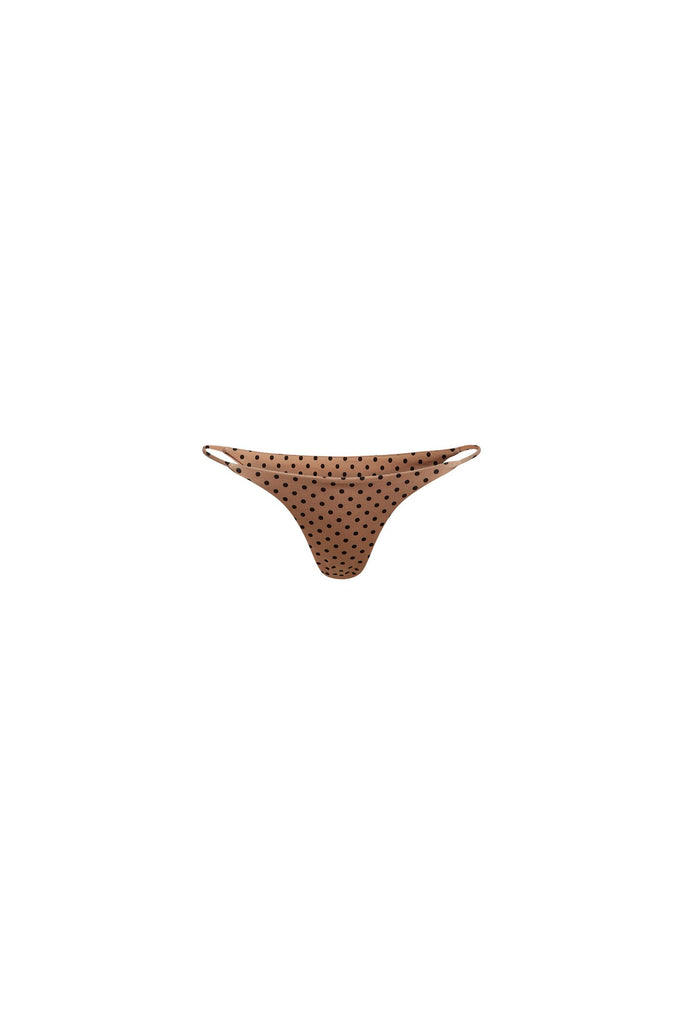 STRING BOTTOM - NUDE BLACK POLKA DOT