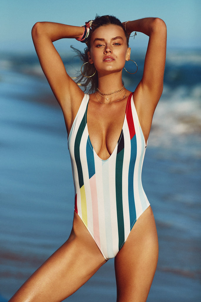 THE MICHELLE ONE PIECE - SPLIT STRIPE