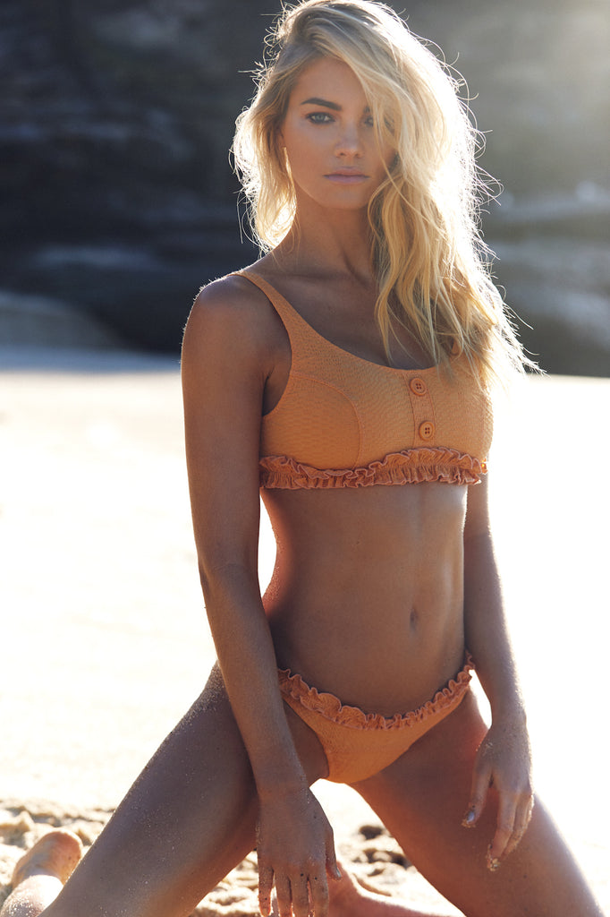 COLBY RUFFLE BIKINI SET - ORANGE SEERSUCKER