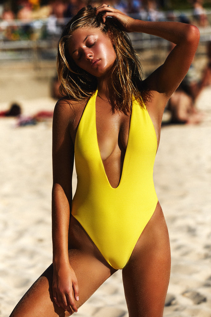 LOW FRONT ONE PIECE - NEON SUNSHINE RIB