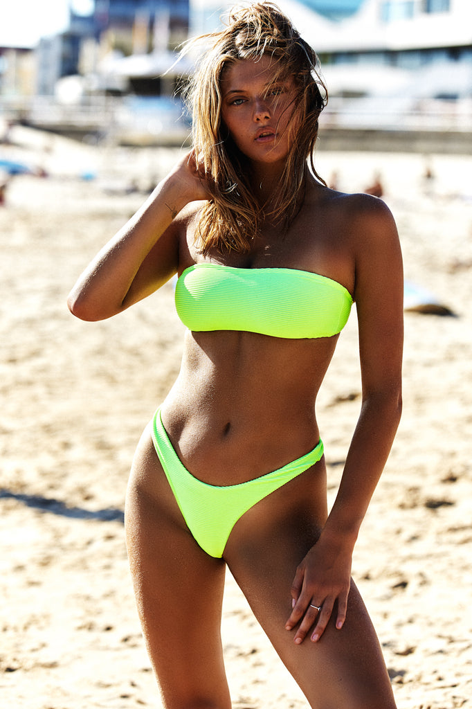 BASIC BANDEAU TOP - NEON GREEN RIB