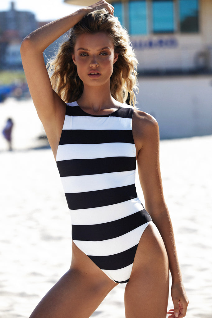 LADY ONE PIECE - BLACK CREAM STRIPE