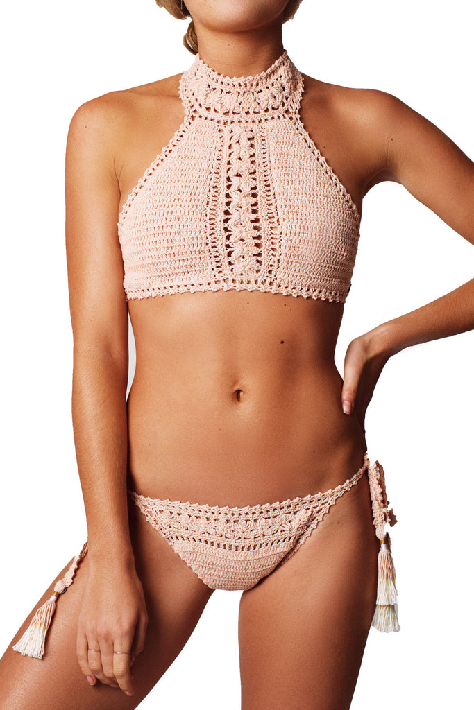 FARAH HALTER TOP - PEACH