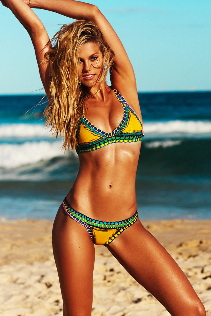 RO BIKINI BOTTOM - BRIGHT YELLOW AND MULTI