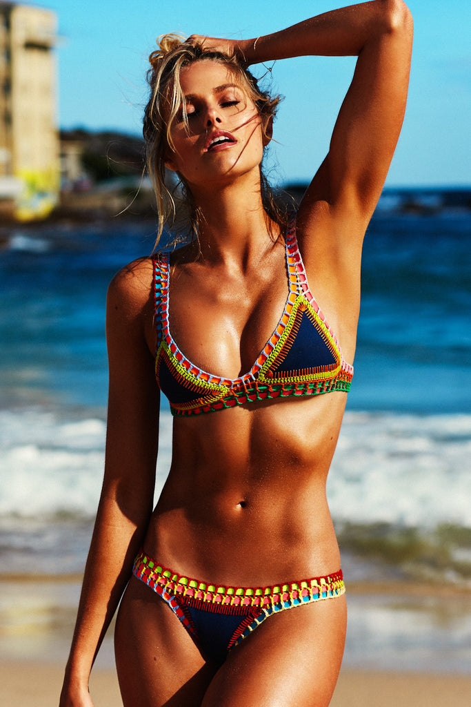 TASMIN BIKINI BOTTOM - NAVY WITH MULTI NEON