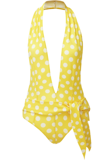 RIRI ONE PIECE - YELLOW POLKA DOT CREPE