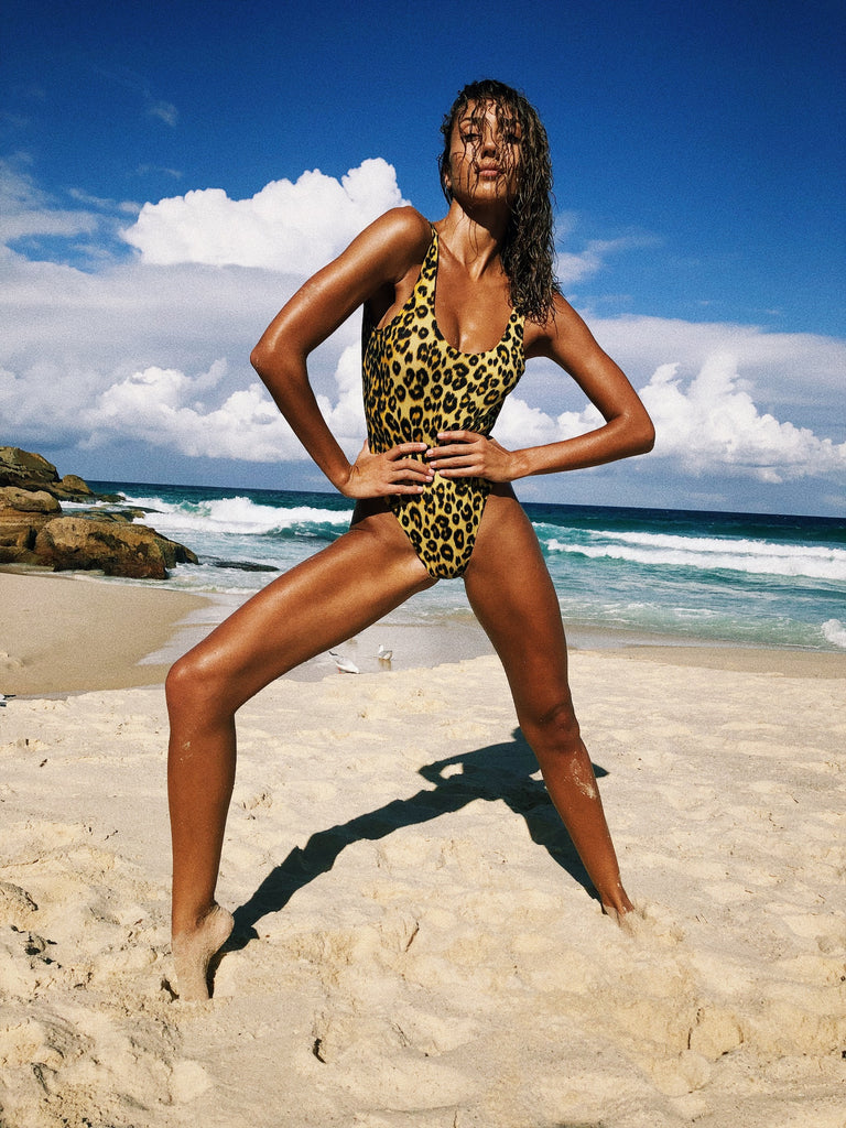 SCOOP BACK ONE PIECE - LEOPARD