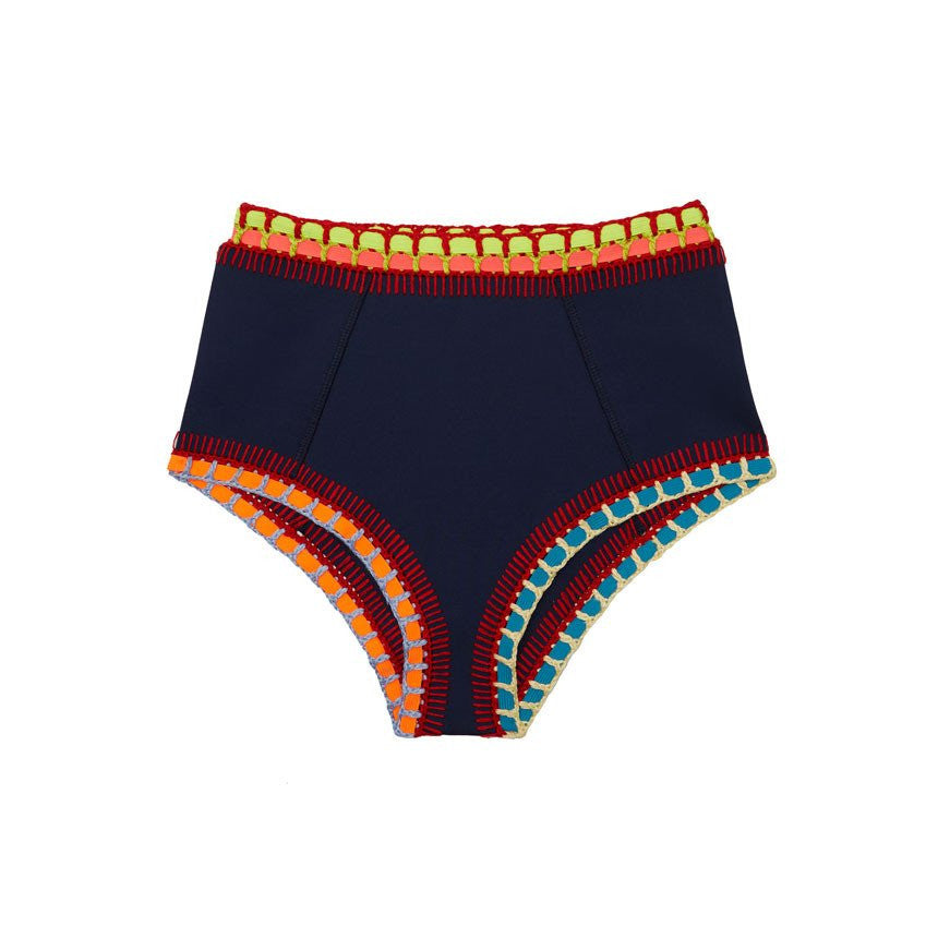 TASMIN HIGH RISE BOTTOM - NAVY WITH MULTI NEON