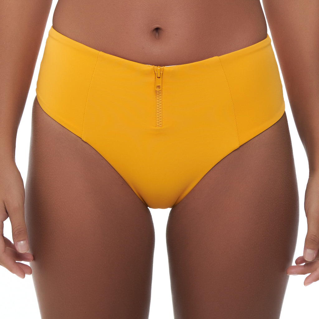 HIGH WAISTED ZIP PANT - SAFFRON