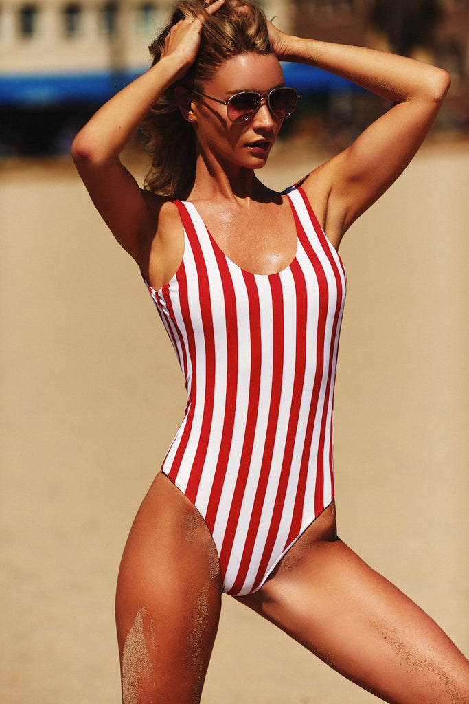 LOW BACK ONE PIECE - BOLD RED STRIPE