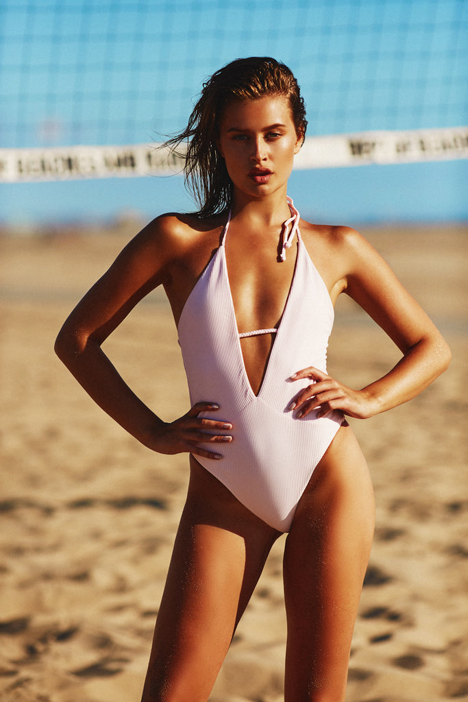 LILLY RIBBED ONE PIECE - ROSE WATER