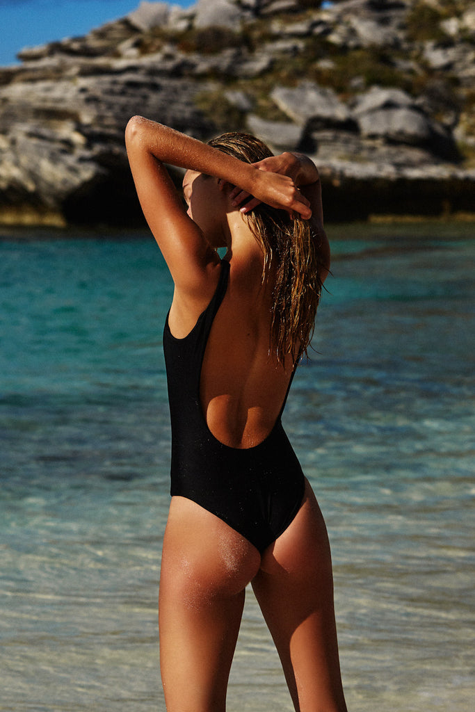 LOW BACK ONE PIECE - BLACK