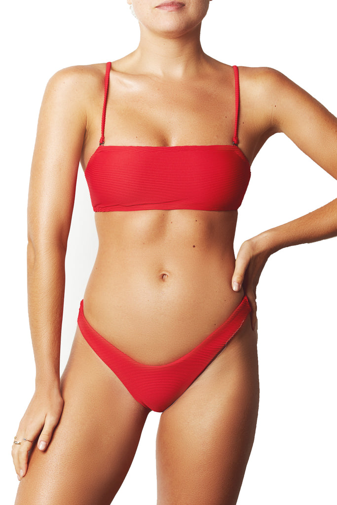 BASIC BANDEAU TOP - RED RIB