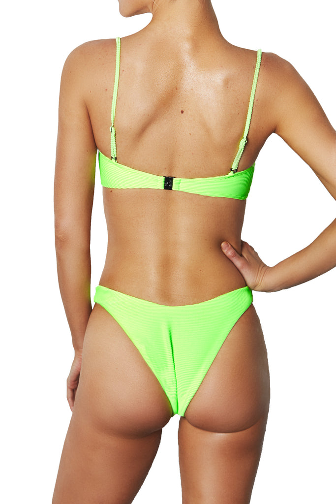 HIGH CUT PANT - NEON GREEN RIB