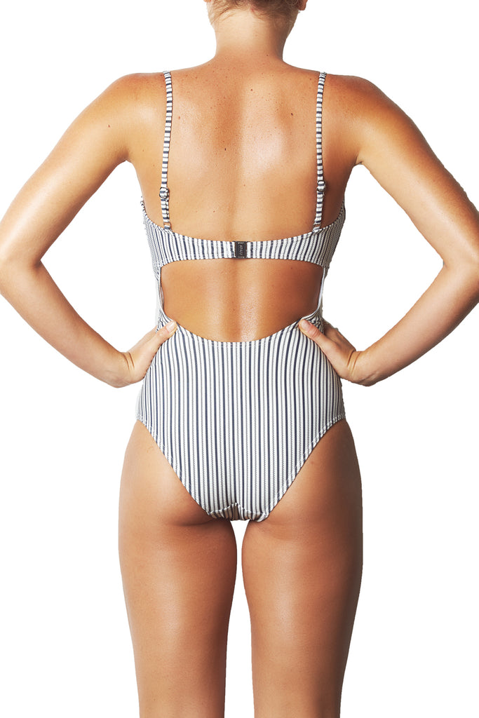 CABANA TIE FRONT ONE PIECE - NAVY WHITE STRIPE CABANA