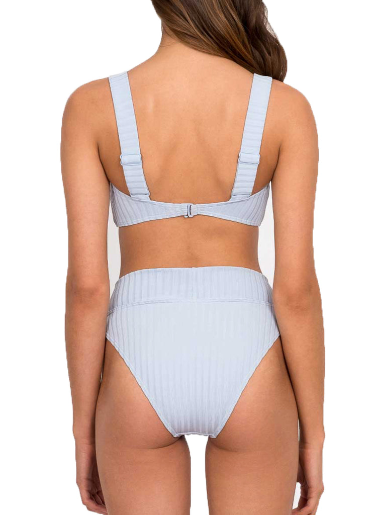 PANELLED CROP TOP - CORNFLOWER RIB