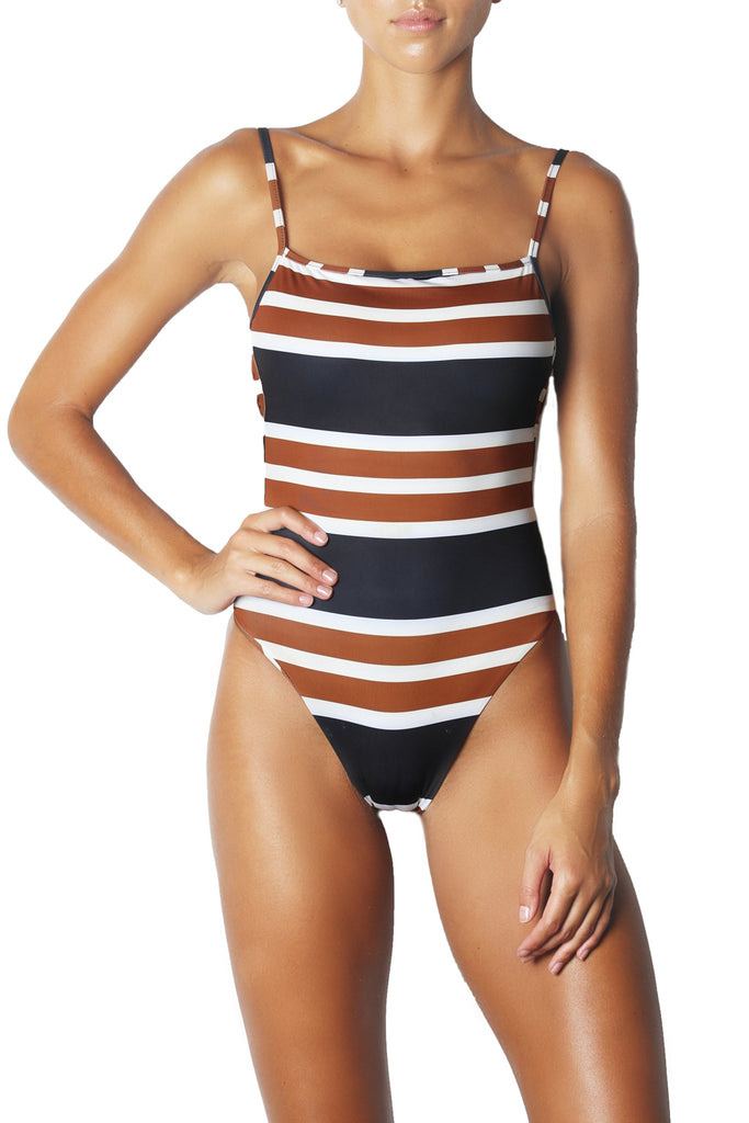 THE ONE PIECE - WHITE BLACK BROWN STRIPE