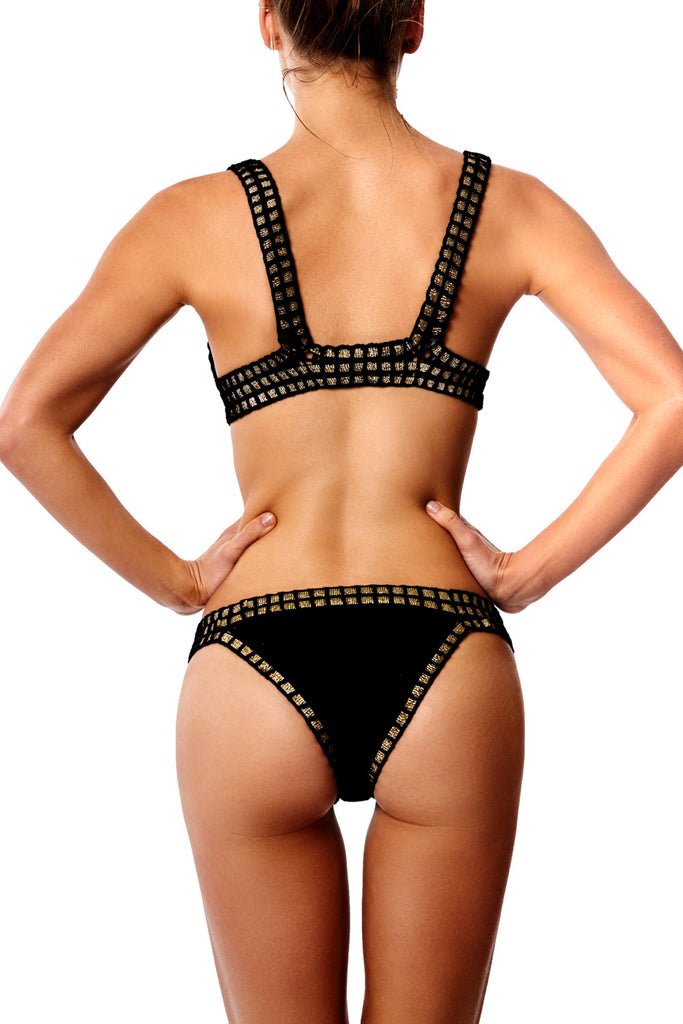 CHACHA BIKINI TOP- BLACK WITH GOLD