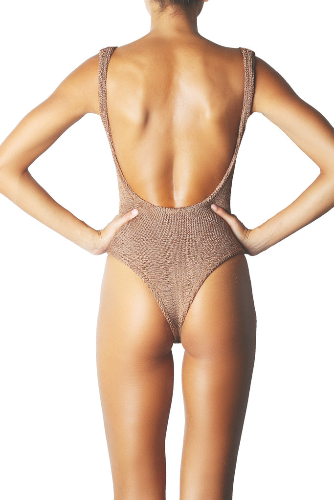 SQUARE NECK ONE PIECE - METALLIC COCO