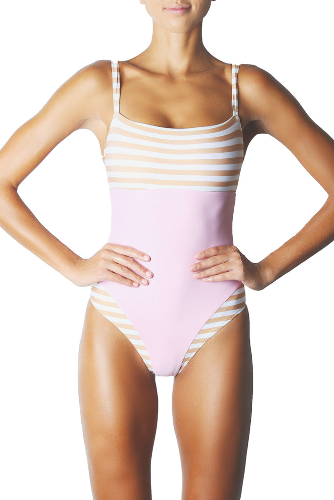 THE DIVINE ONE PIECE - TAN WHITE PINK