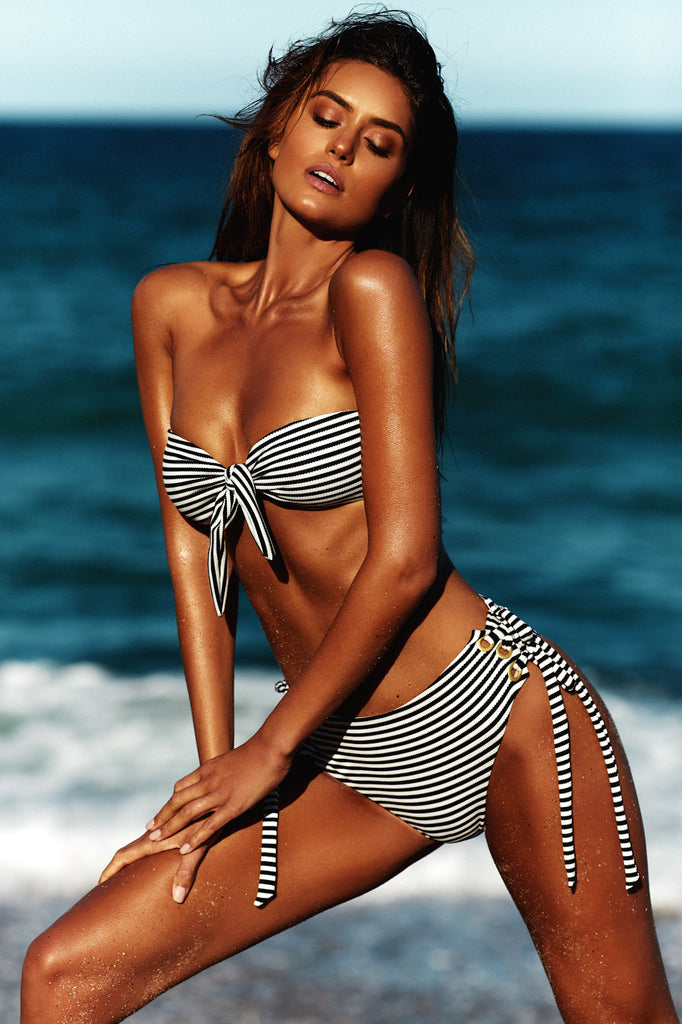 TIE FRONT BANDEAU TOP - BLACK AND WHITE STRIPE JACQUARD