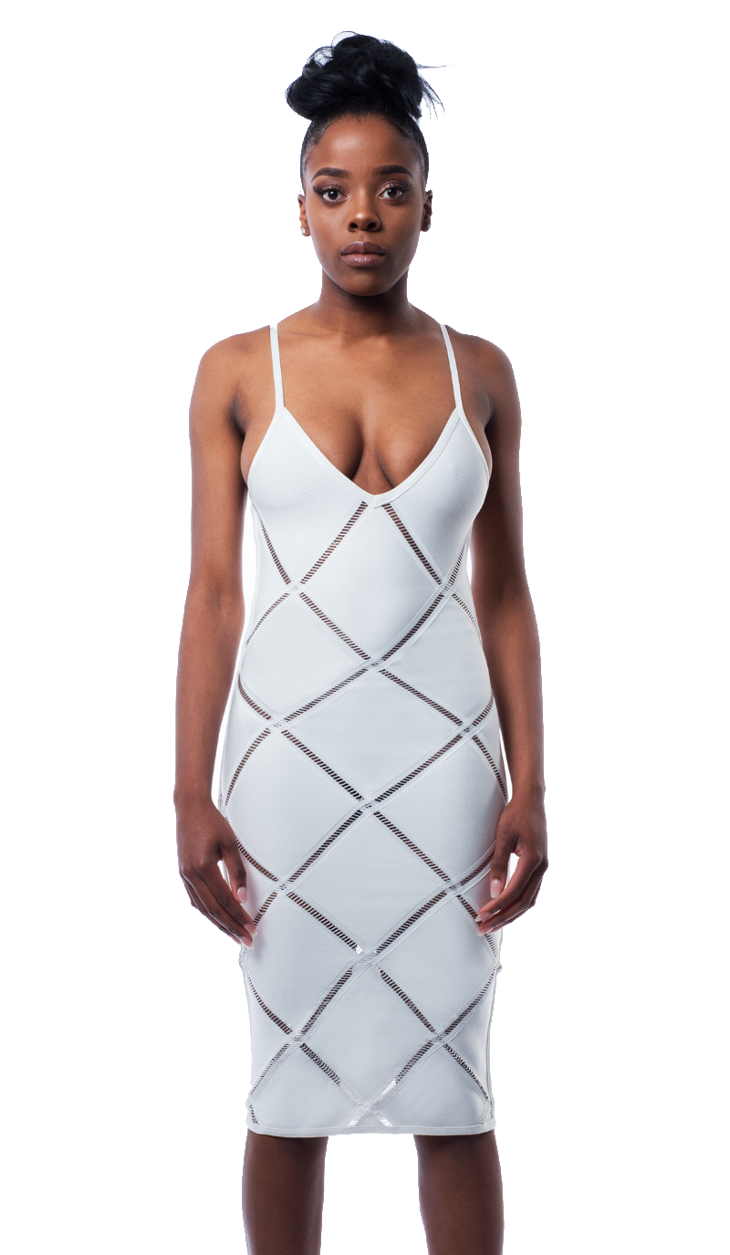 Xanetia Diamond Bandage Dress in white