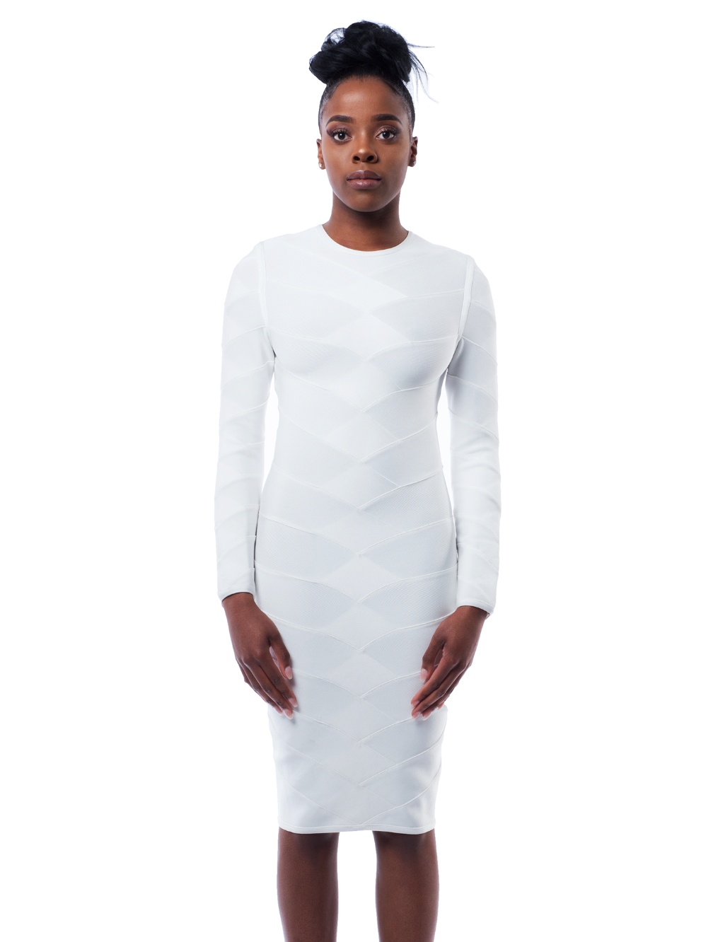 Kaiyen woven bandage dress in white