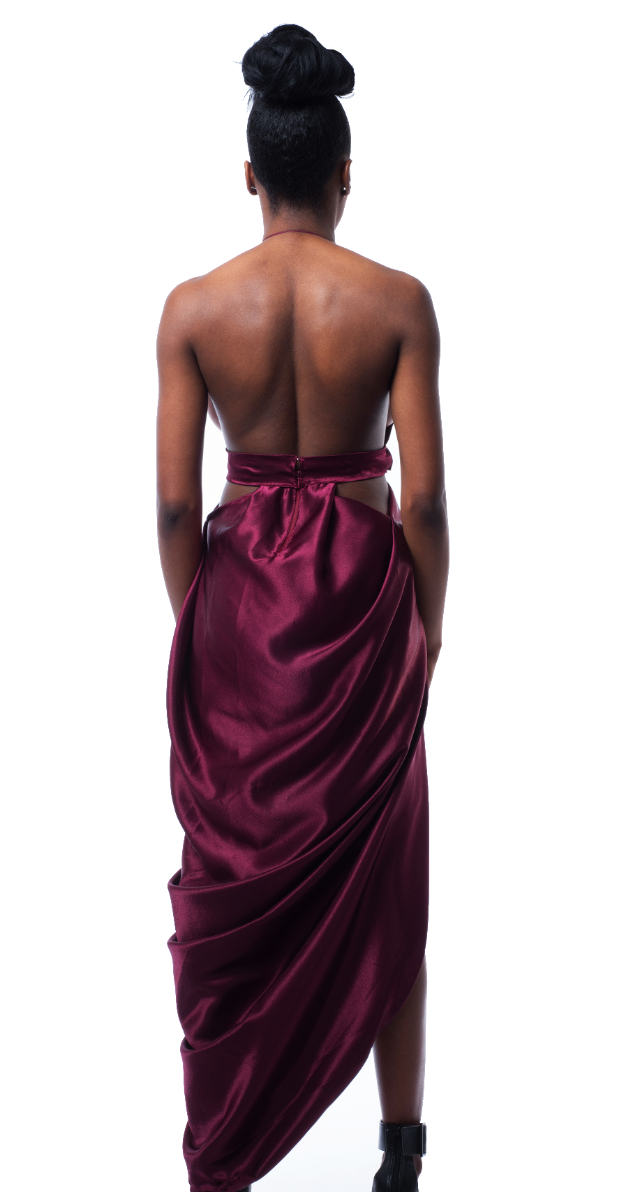 Tejal silk maxi dress in wine red
