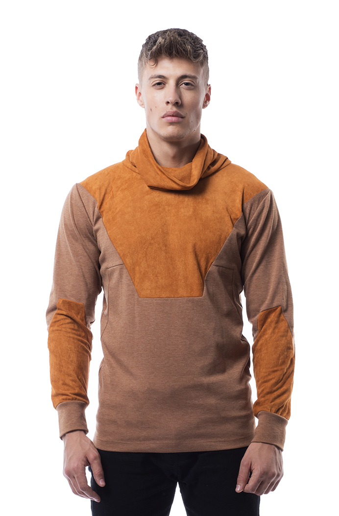 Avery suede panel sweater in Tan Brown