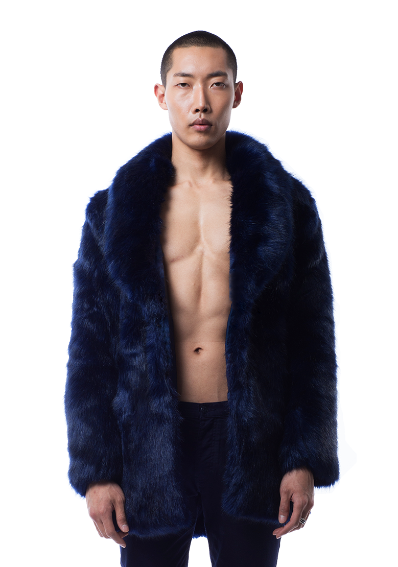 Folarin Fur Coat in Blue