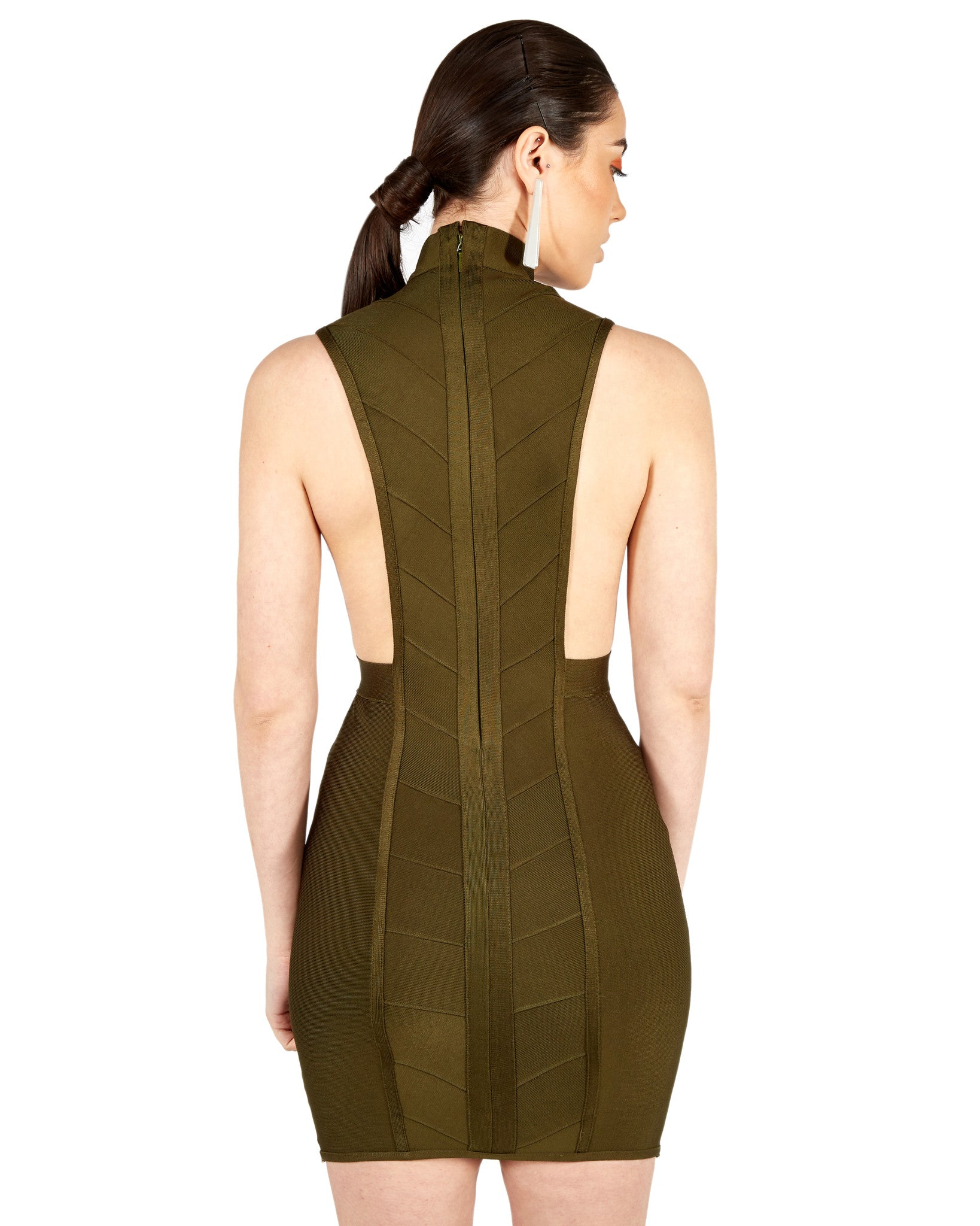 Atiyah Woven Bandage dress in Deep Khaki