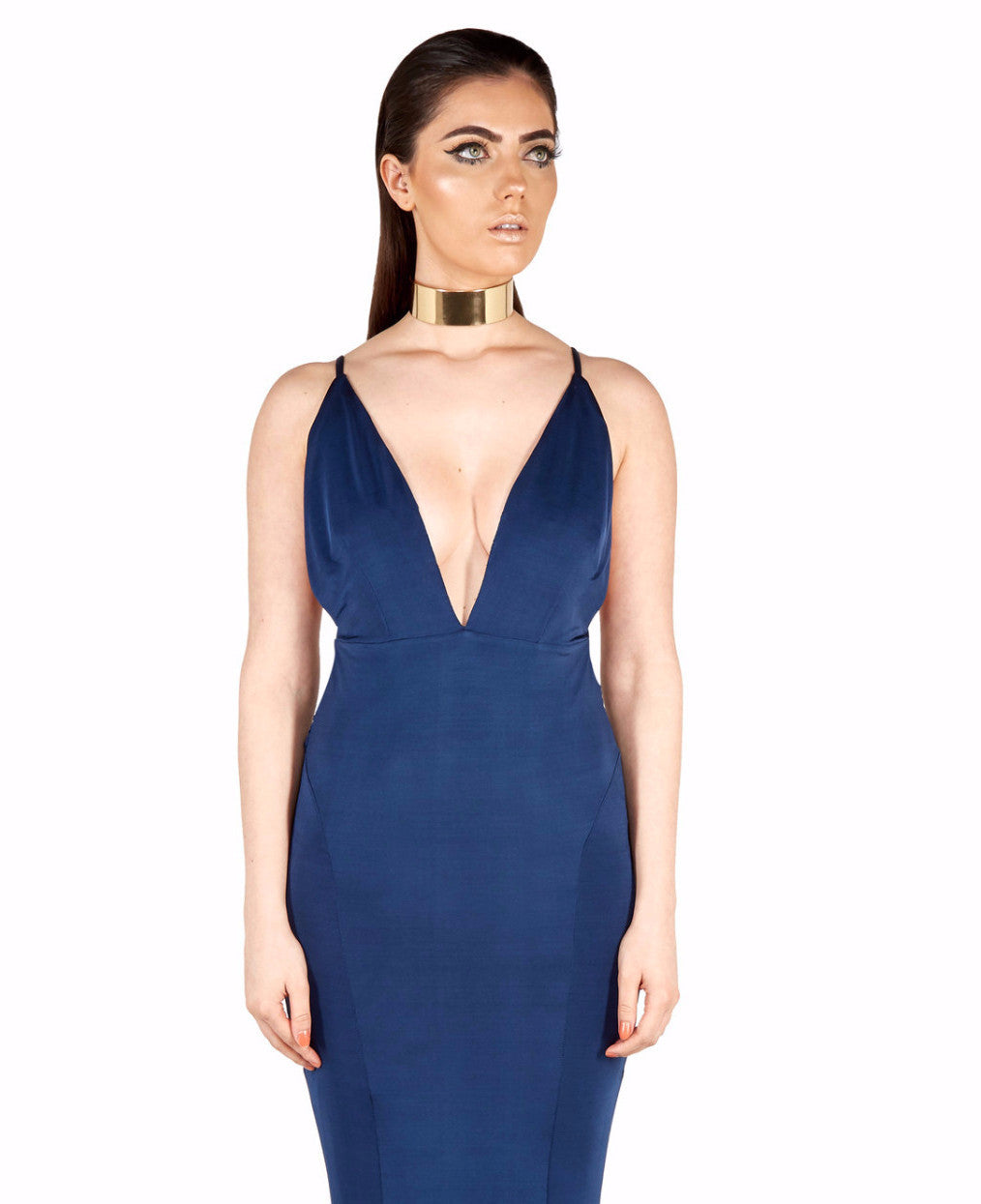 Raven Backless Maxi Gown in Navy