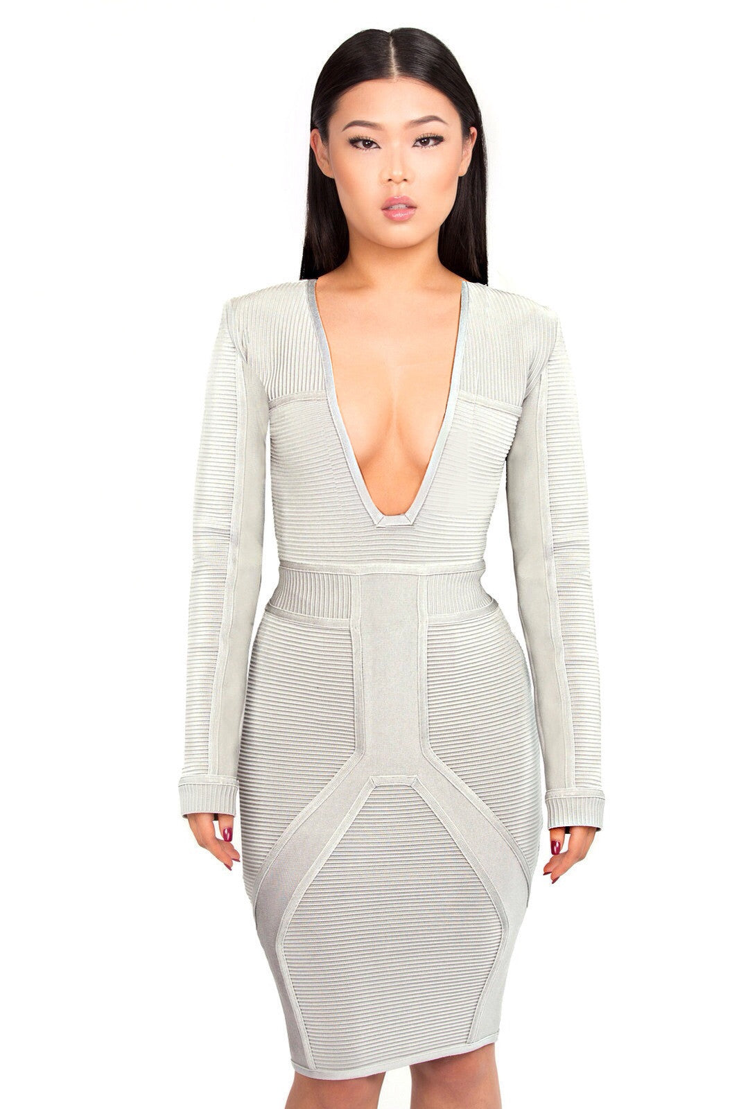 Caprice Ribbed bandage dress in grey