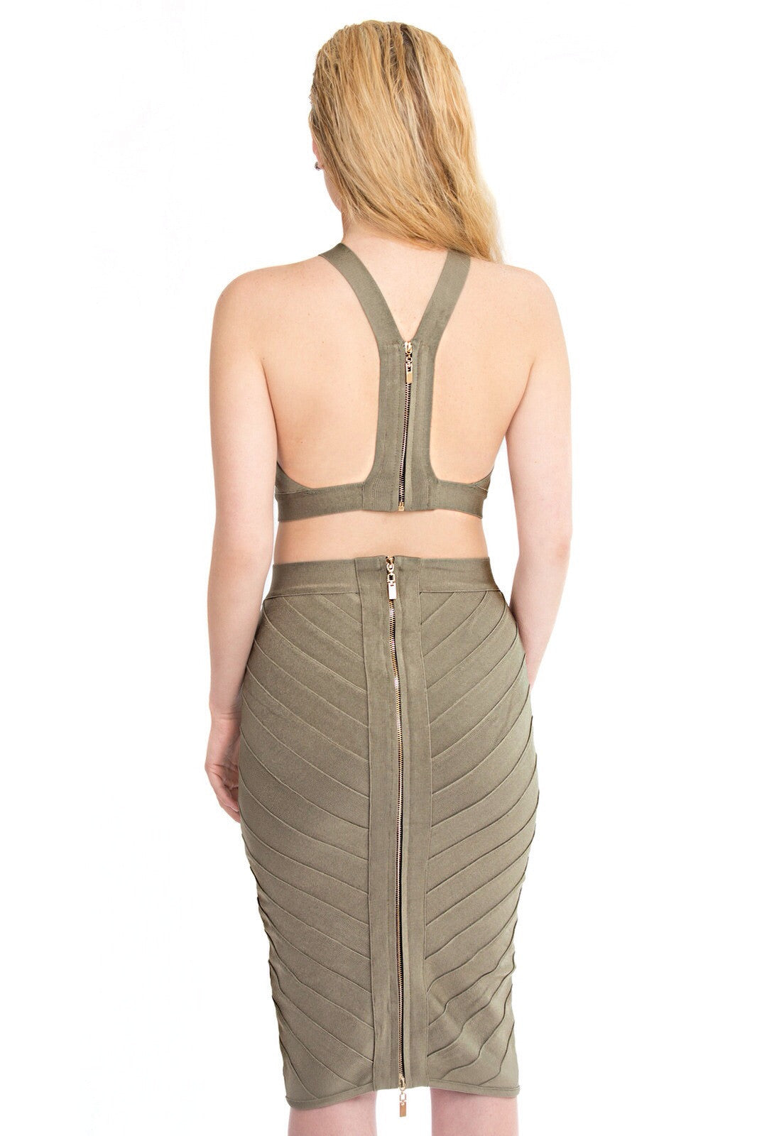 Zhané woven bandage two piece in khaki