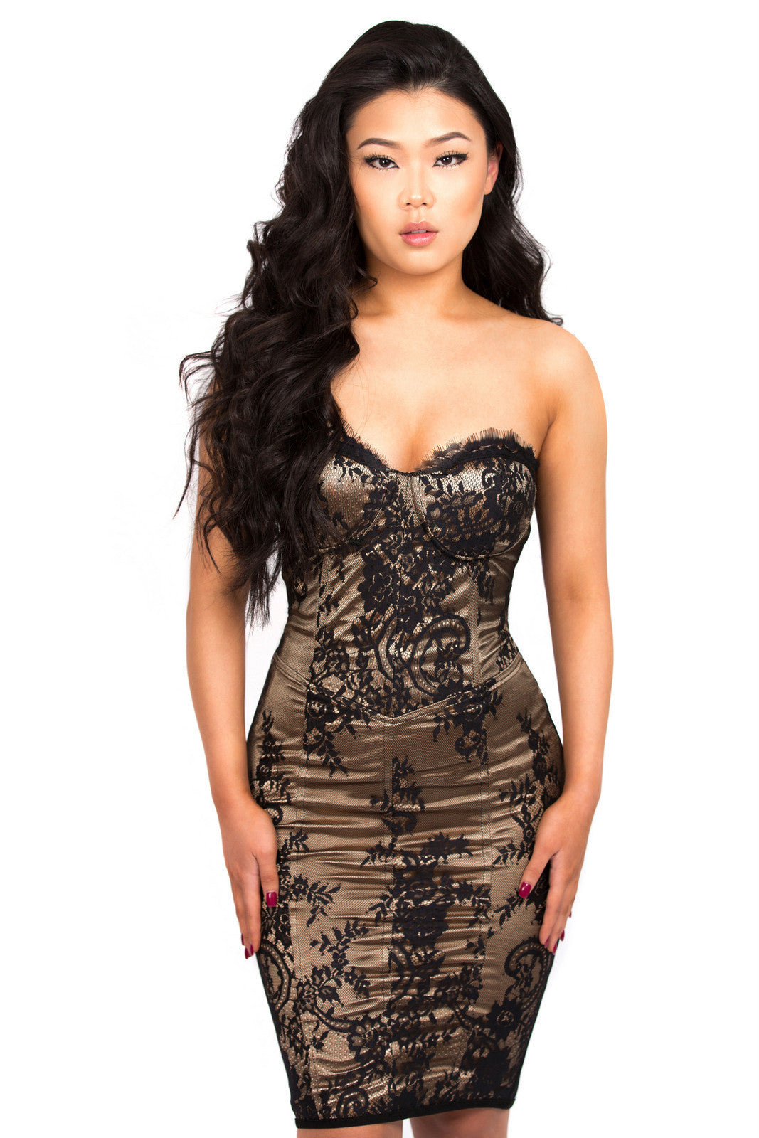 Romana silk and lace overlay bandage bustier dress