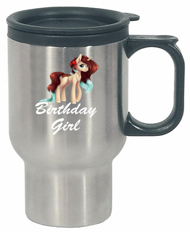 Unicorn Birthday Girl Shirt - Gift Idea for Birthday Outfit - Stainless Steel Travel Mug
