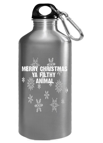 Merry Christmas Ya Filthy Animal Ugly Cheap Xmas Sweater - Water Bottle