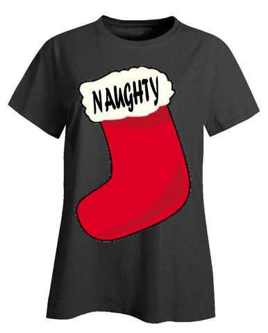 Naughty Merry Xmas Ugly Cheap Christmas Sweater - Ladies T-Shirt