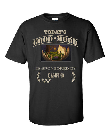 Todays Good Mood Is Sponsored By Camping - Unisex Tshirt S-Black- Cool Jerseys - 1
