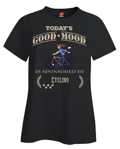 Todays Good Mood Is Sponsored By Cycling - Ladies T Shirt S-Black- Cool Jerseys - 1
