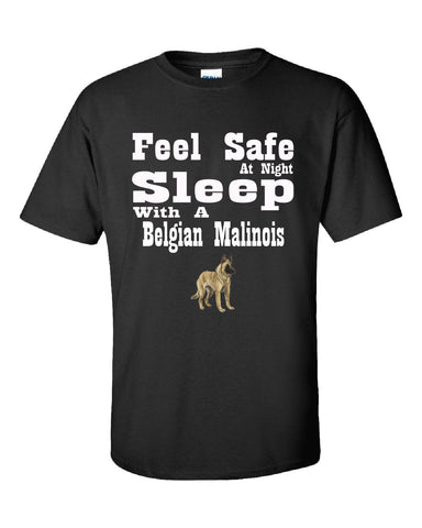 Feel Safe At Night Sleep With A Belgian Malinois - Unisex Tshirt S-Black- Cool Jerseys - 1