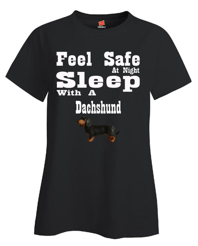 Feel Safe At Night Sleep With A Dachshund - Ladies T Shirt S-Black- Cool Jerseys - 1