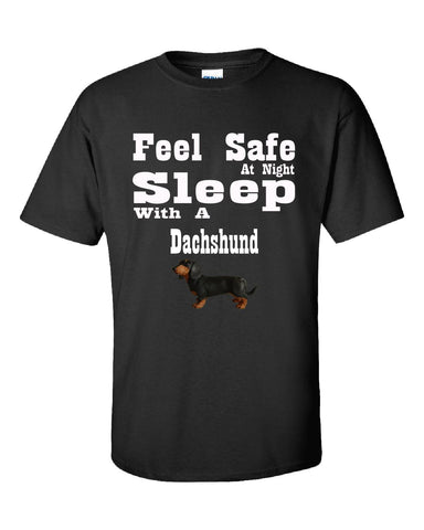 Feel Safe At Night Sleep With A Dachshund - Unisex Tshirt S-Black- Cool Jerseys - 1