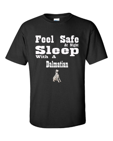 Feel Safe At Night Sleep With A Dalmatian - Unisex Tshirt S-Black- Cool Jerseys - 1