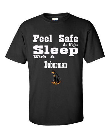 Feel Safe At Night Sleep With A Doberman - Unisex Tshirt S-Black- Cool Jerseys - 1