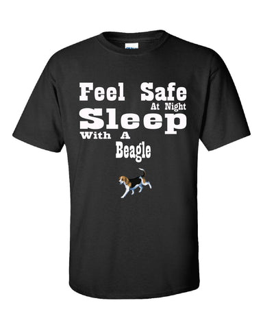Feel Safe At Night Sleep With A Beagle - Unisex Tshirt S-Black- Cool Jerseys - 1