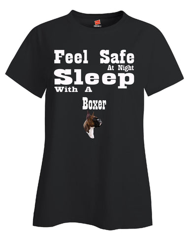 Feel Safe At Night Sleep With A Boxer - Ladies T Shirt S-Black- Cool Jerseys - 1
