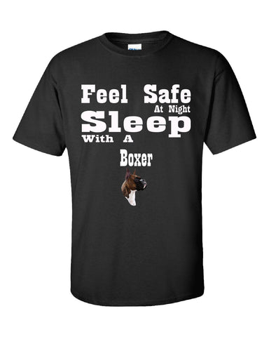 Feel Safe At Night Sleep With A Boxer - Unisex Tshirt S-Black- Cool Jerseys - 1
